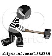 Gray Thief Man Hitting With Sledgehammer Or Smashing Something