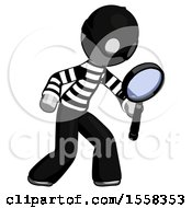 Gray Thief Man Inspecting With Large Magnifying Glass Right