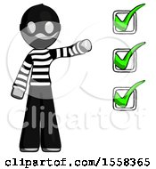 Gray Thief Man Standing By List Of Checkmarks