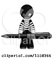Gray Thief Man Weightlifting A Giant Pen