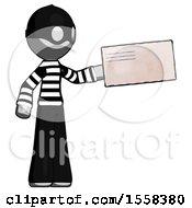 Gray Thief Man Holding Large Envelope