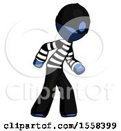 Blue Thief Man Suspense Action Pose Facing Right