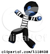 Blue Thief Man Running Away In Hysterical Panic Direction Left