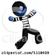 Blue Thief Man Running Away In Hysterical Panic Direction Right