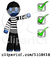 Blue Thief Man Standing By List Of Checkmarks