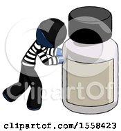 Blue Thief Man Pushing Large Medicine Bottle