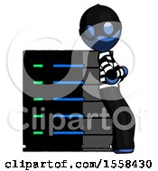 Blue Thief Man Resting Against Server Rack Viewed At Angle