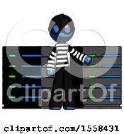 Blue Thief Man With Server Racks In Front Of Two Networked Systems