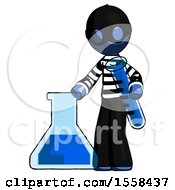 Blue Thief Man Holding Test Tube Beside Beaker Or Flask