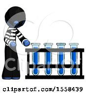 Blue Thief Man Using Test Tubes Or Vials On Rack