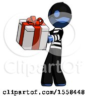 Blue Thief Man Presenting A Present With Large Red Bow On It