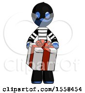 Blue Thief Man Gifting Present With Large Bow Front View