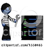 Blue Thief Man Server Administrator Doing Repairs