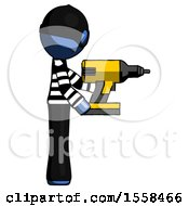 Blue Thief Man Using Drill Drilling Something On Right Side