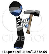 Blue Thief Man Hammering Something On The Right