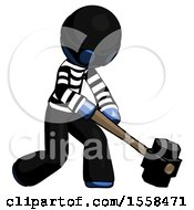 Blue Thief Man Hitting With Sledgehammer Or Smashing Something At Angle