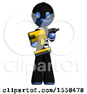 Blue Thief Man Holding Large Drill
