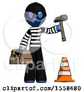 Blue Thief Man Under Construction Concept Traffic Cone And Tools