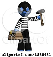 Blue Thief Man Holding Tools And Toolchest Ready To Work
