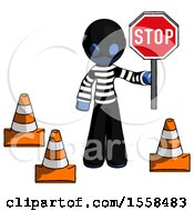 Blue Thief Man Holding Stop Sign By Traffic Cones Under Construction Concept