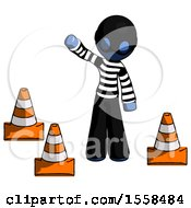 Blue Thief Man Standing By Traffic Cones Waving