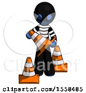 Blue Thief Man Holding A Traffic Cone