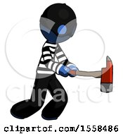 Blue Thief Man With Ax Hitting Striking Or Chopping