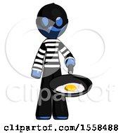 Poster, Art Print Of Blue Thief Man Frying Egg In Pan Or Wok