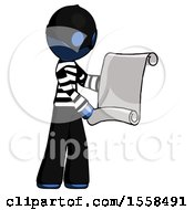 Blue Thief Man Holding Blueprints Or Scroll