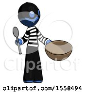 Blue Thief Man With Empty Bowl And Spoon Ready To Make Something