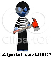 Blue Thief Man Holding Red Fire Fighters Ax