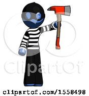 Blue Thief Man Holding Up Red Firefighters Ax