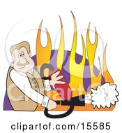 Nervous Man Using A Fire Extinguisher To Put Out A Fire Clipart Illustration by Andy Nortnik