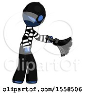 Blue Thief Man Dusting With Feather Duster Downwards