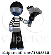 Blue Thief Man Holding Feather Duster Facing Forward