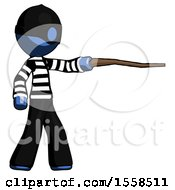 Blue Thief Man Pointing With Hiking Stick