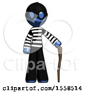 Blue Thief Man Standing With Hiking Stick