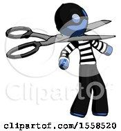 Blue Thief Man Scissor Beheading Office Worker Execution