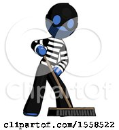 Blue Thief Man Cleaning Services Janitor Sweeping Floor With Push Broom