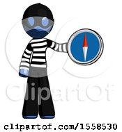 Blue Thief Man Holding A Large Compass