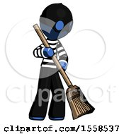 Blue Thief Man Sweeping Area With Broom
