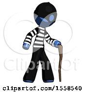 Blue Thief Man Walking With Hiking Stick