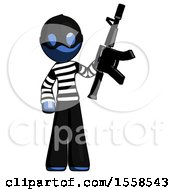 Blue Thief Man Holding Automatic Gun