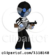 Blue Thief Man Tommy Gun Gangster Shooting Pose