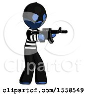 Blue Thief Man Shooting Automatic Assault Weapon