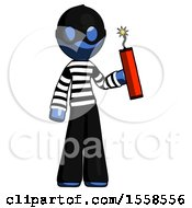 Blue Thief Man Holding Dynamite With Fuse Lit