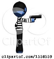 Blue Thief Man Firing A Handgun