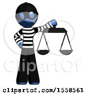 Blue Thief Man Holding Scales Of Justice