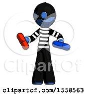Blue Thief Man Red Pill Or Blue Pill Concept