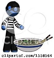 Blue Thief Man And Noodle Bowl Giant Soup Restaraunt Concept